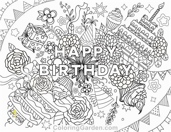Free printable Happy Birthday adult coloring page Download it in PDF format at