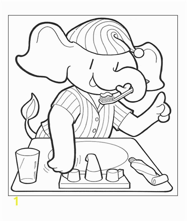 Coloring page with elephant brushing his teeth