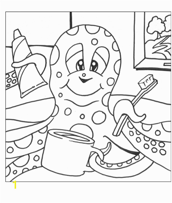 Coloring page with octopus brushing her teeth Rocklin Pediatric
