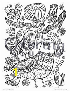 Birds on Birds Pattern Coloring PagesAdult