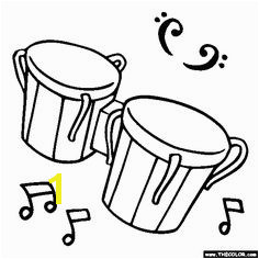 Free Musical Instrument Coloring Pages Color in this picture of Bongo Drums and