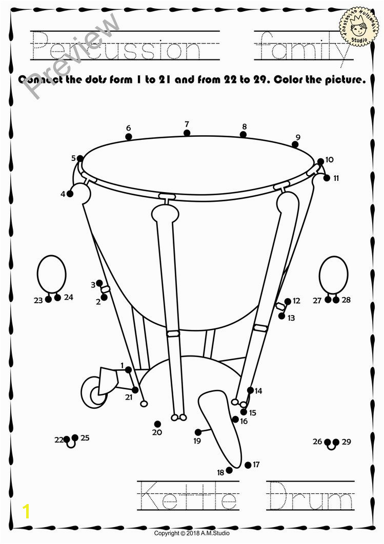 This file in PDF form contains 13 Percussion Instruments dot to dots worksheets