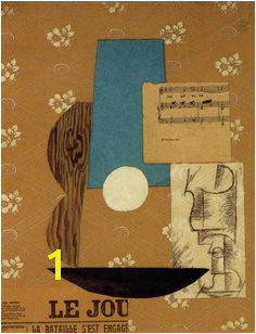 Picasso Guitar Sheet Music Wine Glass 1912 Synthetic Cubism