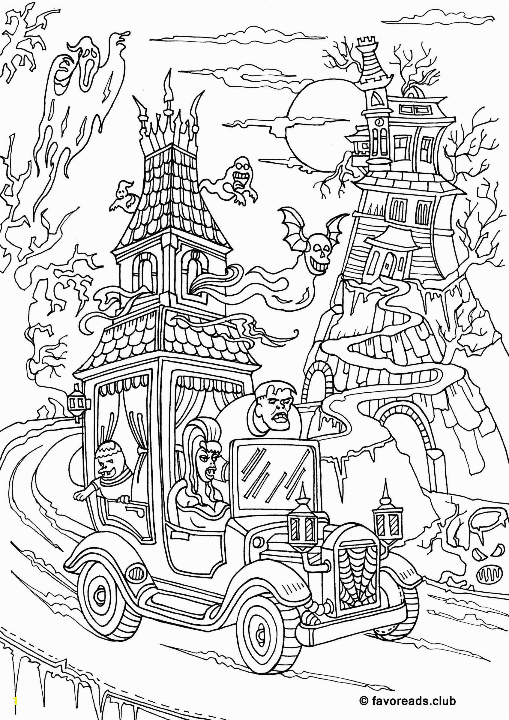 Monster Mash Halloween colouring page