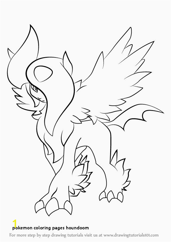 Pokemon Coloring Pages Absol Beautiful Houndoom Drawing at