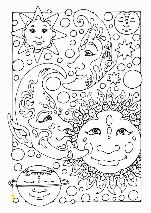 Fantasy Coloring Pages For Adults Coloring page sun moon and st…