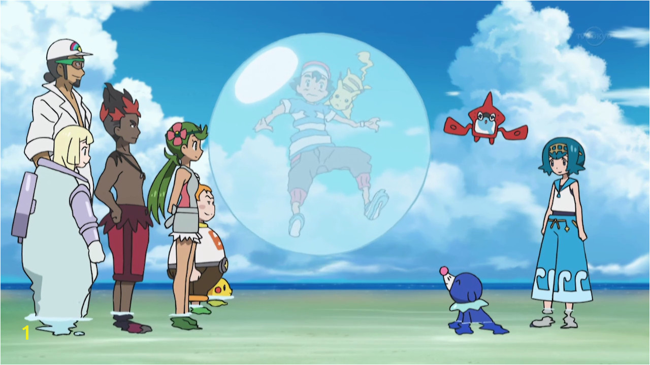 Popplio emits a giant bubble wrapping Ash and Pikachu with it