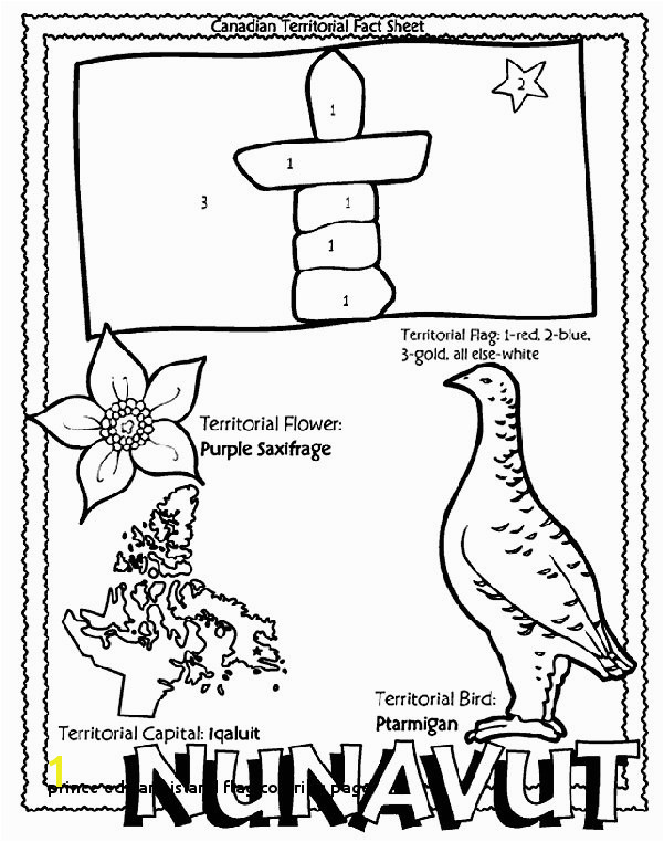 Prince Edward island Flag Coloring Page Canadian Territory Nunavut Coloring Page