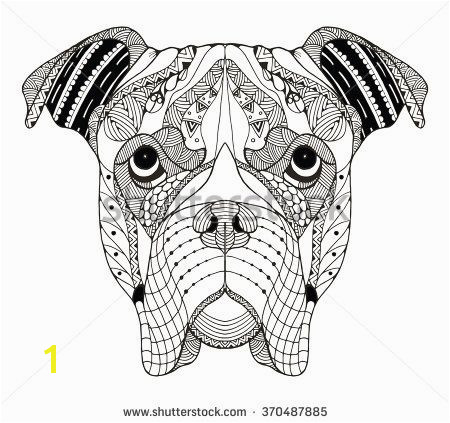 Boxer dog head zentangle stylized vector illustration freehand pencil hand drawn pattern Zen art Ornate vector Lace stock vector