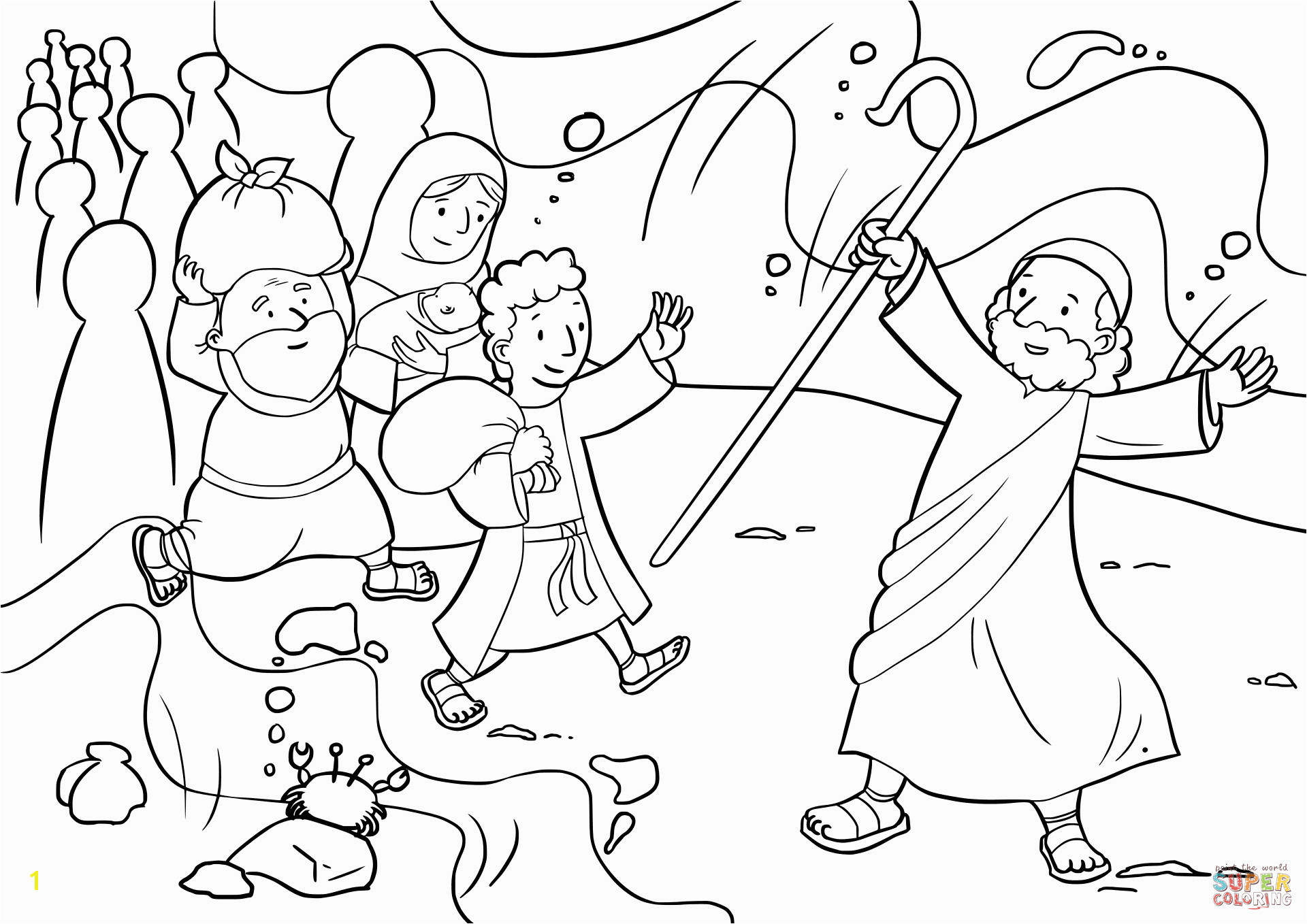 Israelites Cross The Red Sea Coloring Page Free Printable Stunning Parting
