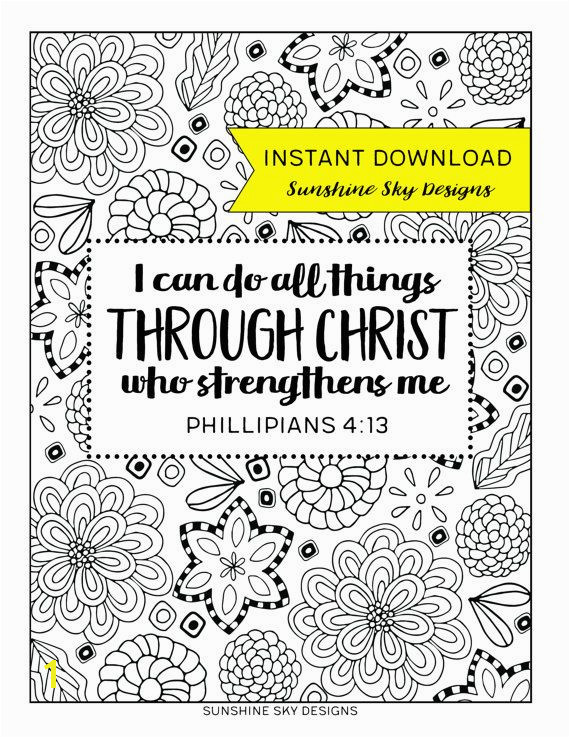 Coloring Page I Can Do All Things Through Christ Printable Bible Verse Instant Download Phillipians 4 13 Christian Coloring