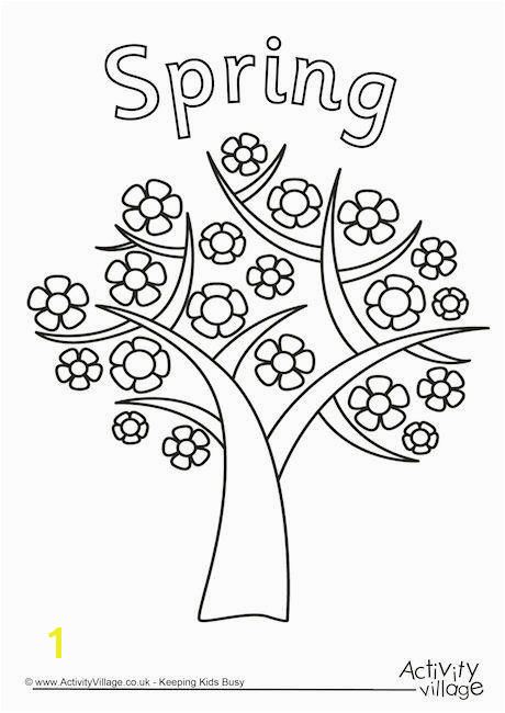 Spring tree colouring page