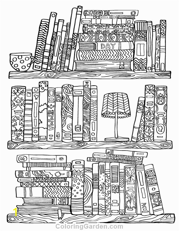Free printable bookshelf adult coloring page Download it in PDF format at