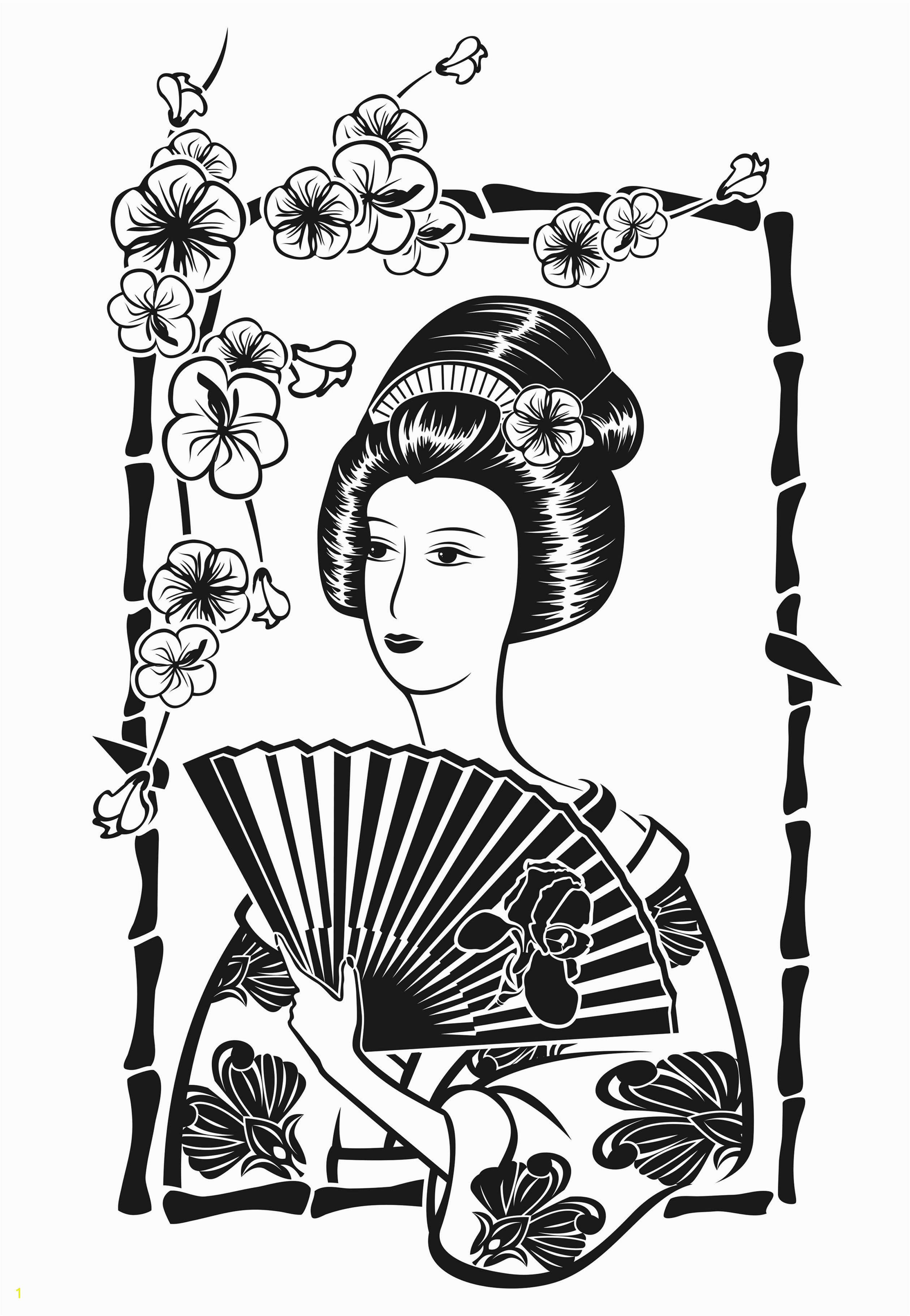 Printable Geisha Coloring Pages Free Coloring Page Coloring Adult Japan Geisha with Fan by Krystsina