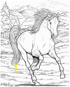 Free coloring page coloring adult horse A galloping horse