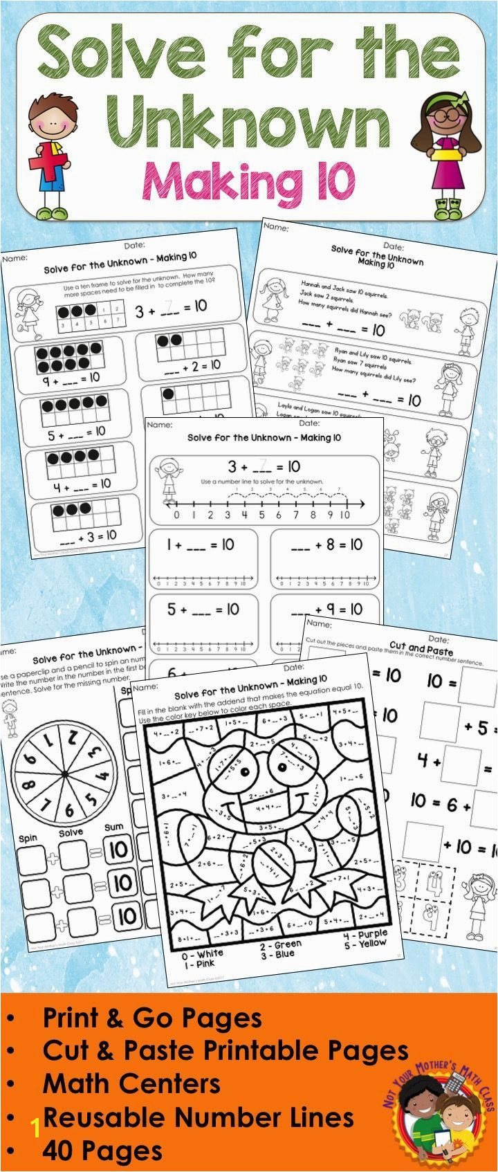 This packet has printable worksheets word problems math centers coloring sheets and more