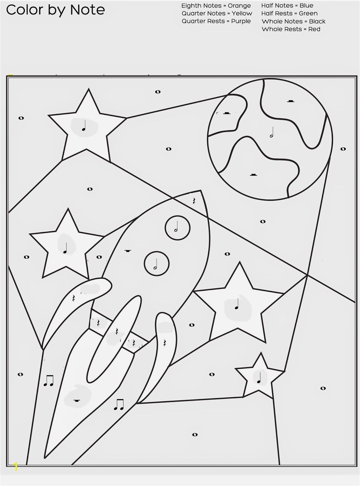 Quarter Note Coloring Page Free Printable Color by Note Worksheet