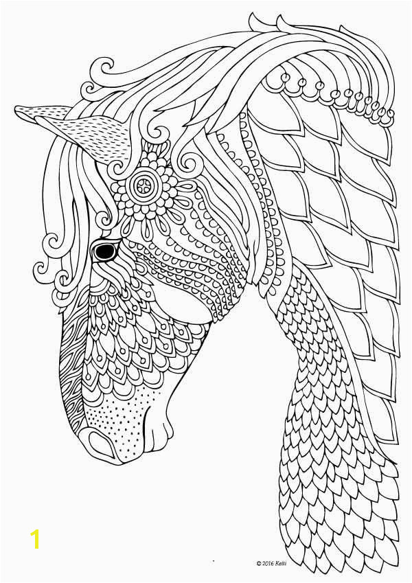 Horse coloring page for adults illustration by Keiti Davlin Publishing…