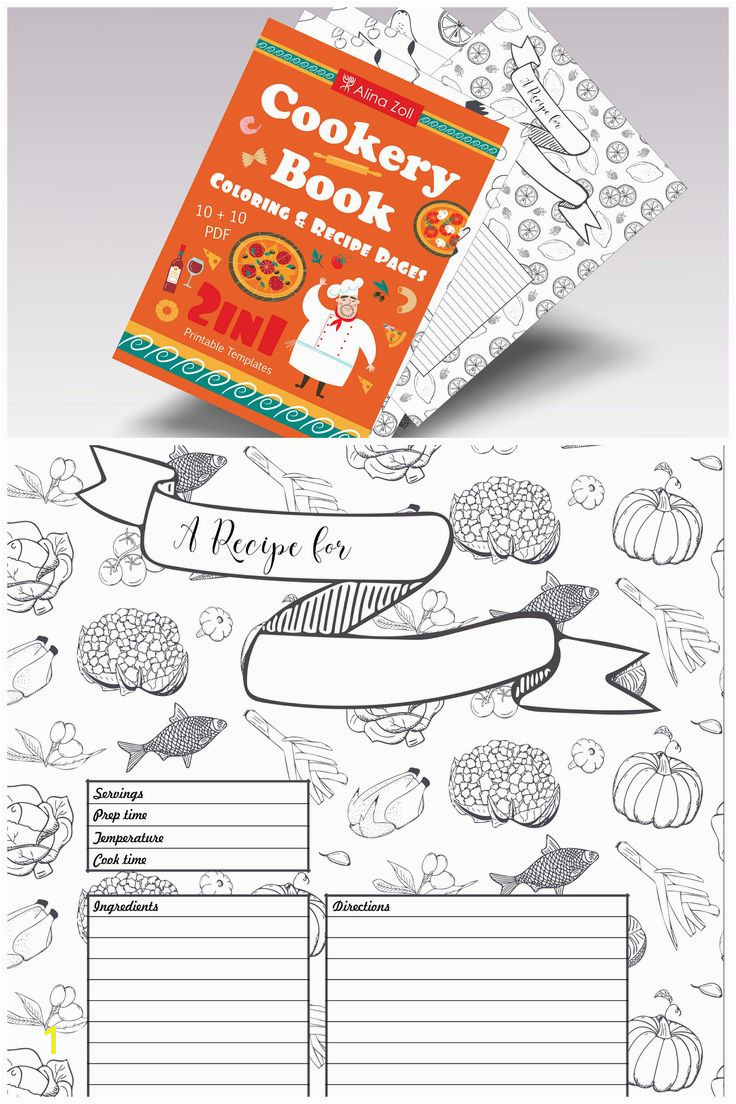 2 in 1 Cookery Coloring Book & Recipe Cards Coloring Recipe Pages Blank Recipe Book Printable Recipe Templates Fo…