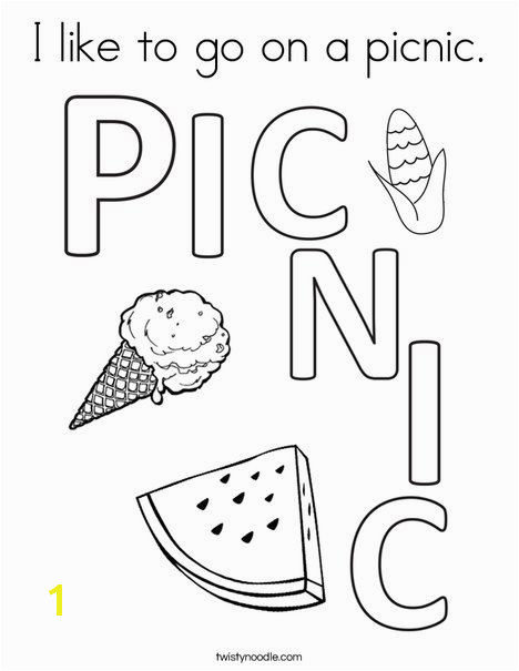 I like to go on a picnic Coloring Page Twisty Noodle Summer Is Here