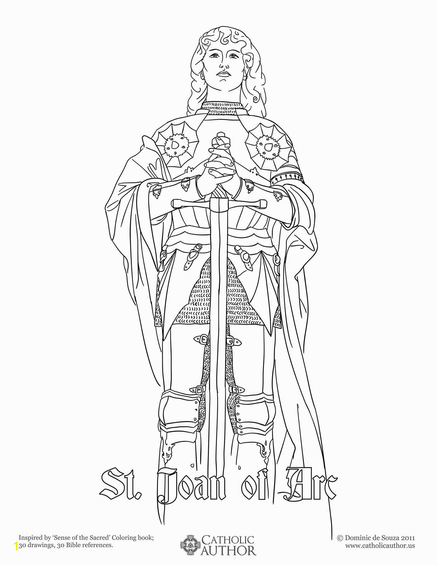 St George Coloring Page St Joan Arc 12 Free Hand Drawn Catholic Coloring