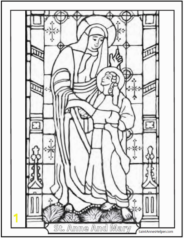Catholic Saints Coloring Page Stained Glass Coloring Saint Anne And Mary