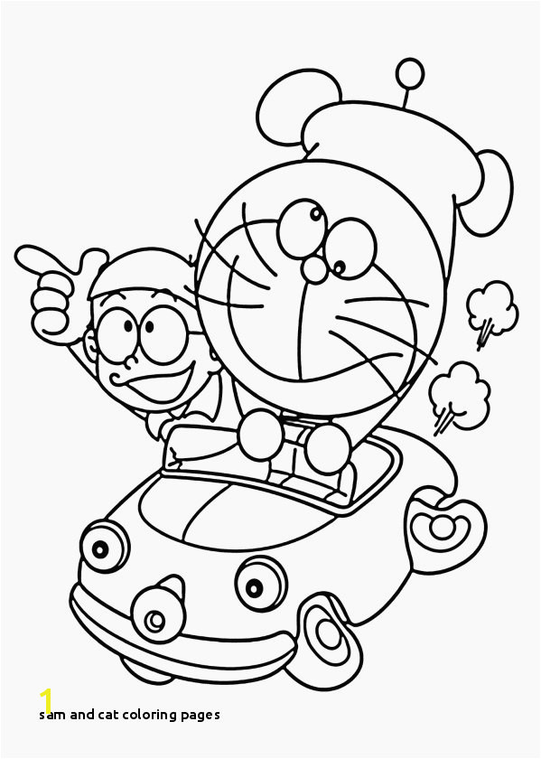 Beautiful Doraemon In Car Coloring Pages for Kids Printable Free