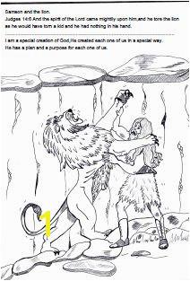 Samson Bible Sunday school lesson Samson and the lion coloring page Free Sunday School Lessons