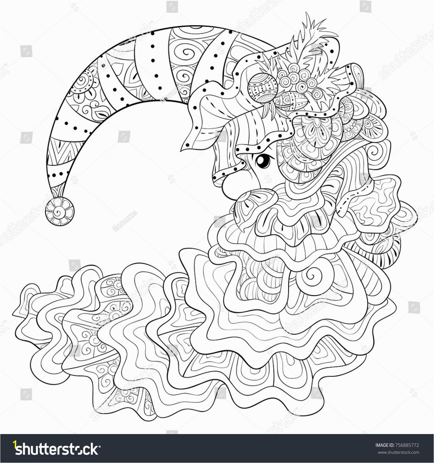 Adult coloring page book a Santa Claus with hat and beard for relaxing Zen art style illustration