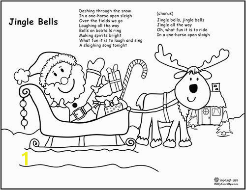 Printable Santa Sleigh Coloring Page with Jingle Bells Lyrics