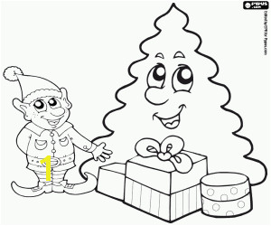 An elf Christmas tree and ts · Santa Claus sitting in the sleigh coloring page