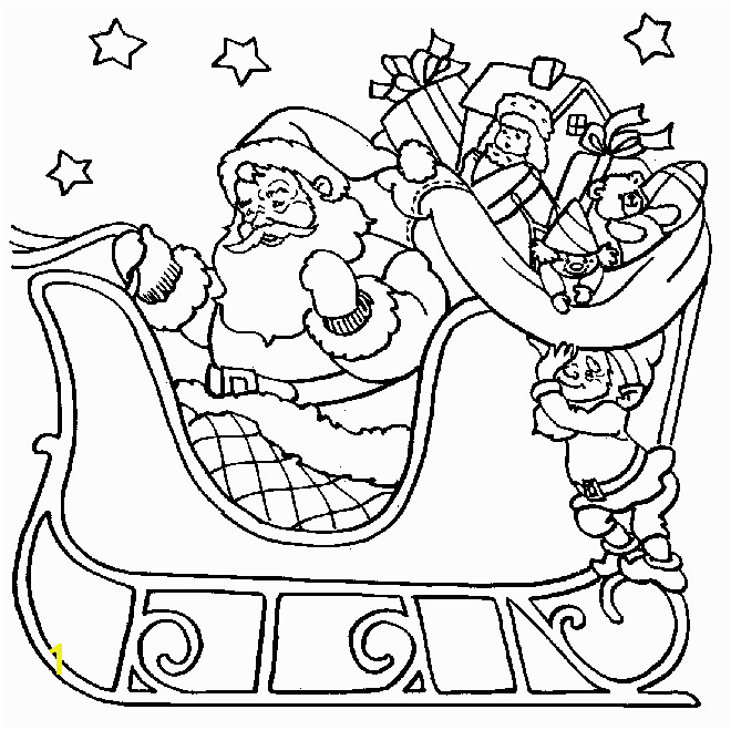 Santa Sleigh Ride Christmas Coloring Page Outline Drawing for Colouring