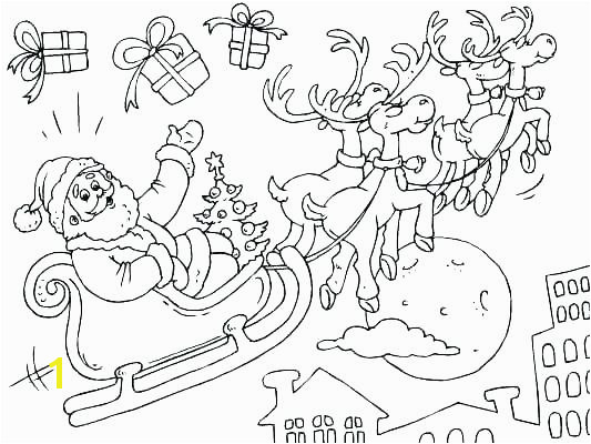 Santa Claus On His Sleigh Coloring Pages Sleigh Coloring Pages Printable Free Reindeer Page for Kids 3 Horse