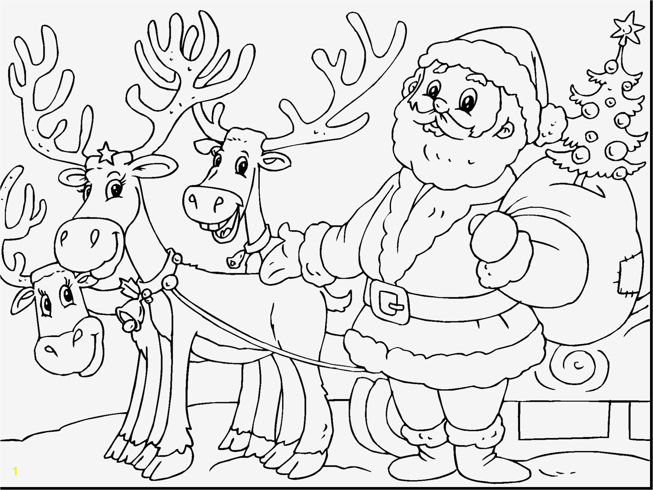 Santa Claus with Reindeer Coloring Pages 30 Santa Claus Coloring Pages Gallery