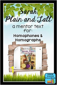 Sarah Plain and Tall [a mentor text for teaching homophones and homographs] Reading