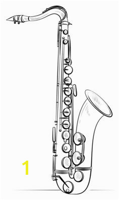 Saxophone coloring page from Music & Musical instruments category