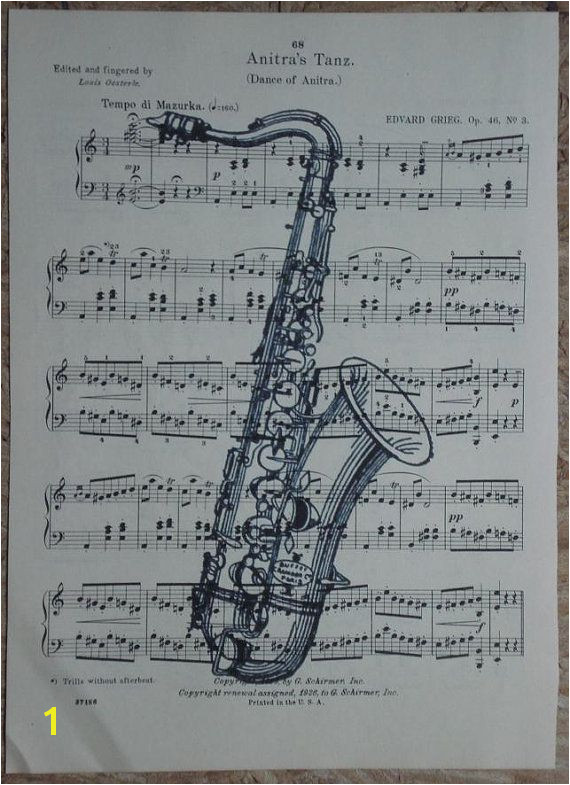 Saxophone vintage music book page print sheet music by 2PurpleCats $8 00
