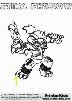Skylanders Swap Force STINK SHADOW Coloring Page 3 Thick Line