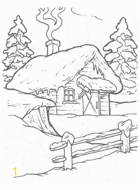 Birdhouse cottages trees and landscape embroidery patterns Winter Cabin Winter House Coloring
