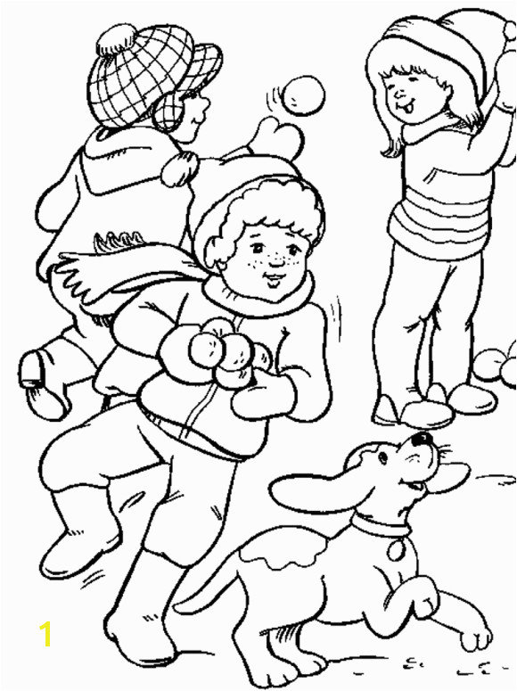 Snowy Mountain Coloring Page Playing Snow In Winter Coloring Pages for Kids