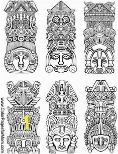 Southwestern Coloring Page 20 free Totem Tattoo Aztec Art Totem Poles Vector Illustrations