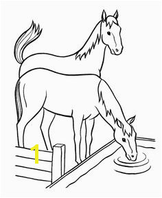 Horses at water trough Lots of coloring pages on this site Farm Coloring Pages
