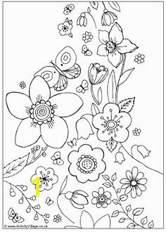 Spring Flowers Coloring Spring day cartoon coloring pages
