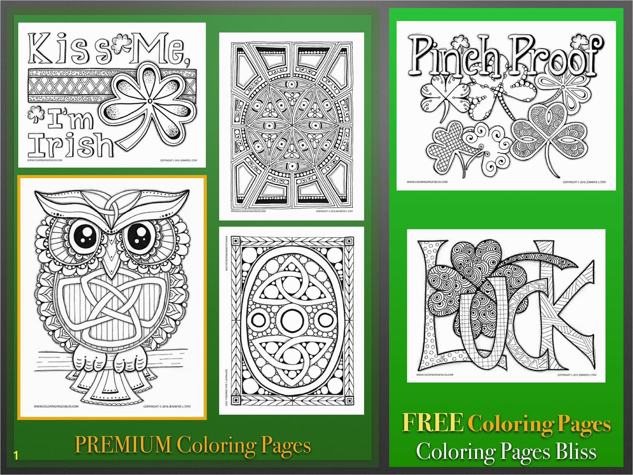 St Patrick s Day printables Downloadable coloring pages for adults hand drawn by Jennifer Stay and full of details to color FREE coloring pages available