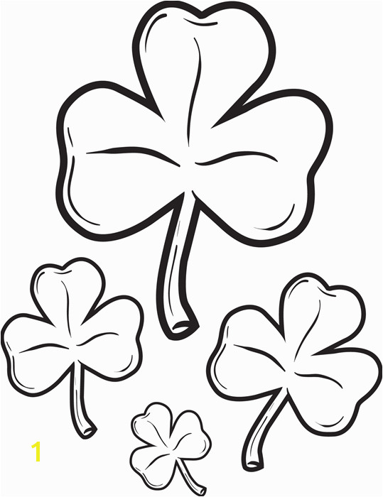 Great coloring page for St Patrick s Day of four shamrocks It s free and printable