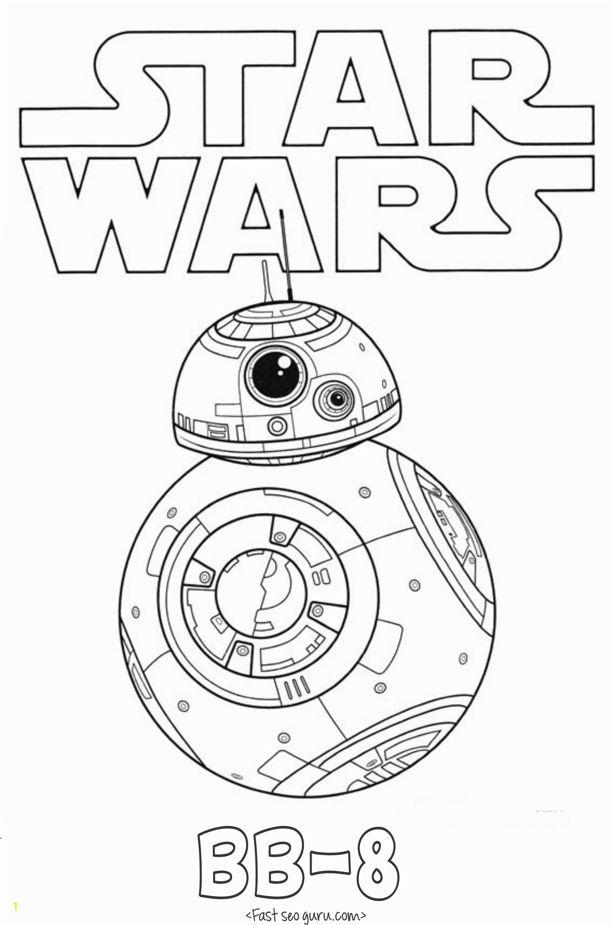 Star Wars the force Awakens Coloring Pages Printable Star Wars the force Awakens Bb 8