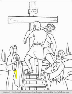Stations of the Cross Coloring Pages 13 The body of Jesus is taken down from