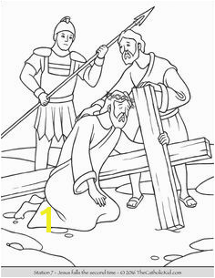 Stations of the Cross Coloring Pages 7 Jesus Falls the Second Time Cross Coloring Page