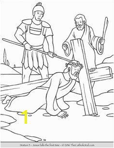 Stations of the Cross Coloring Pages 3 Jesus falls the first time