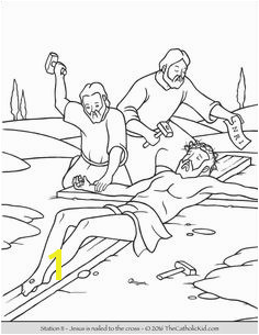 Stations of the Cross Coloring Pages 11 Jesus is nailed to the cross